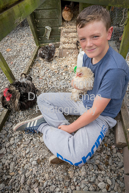 3-8-16<br /> <br /> Evan Woods pictured with his chickens at his home in Butlerstown Co. Waterford.<br /> Picture Dylan Vaughan