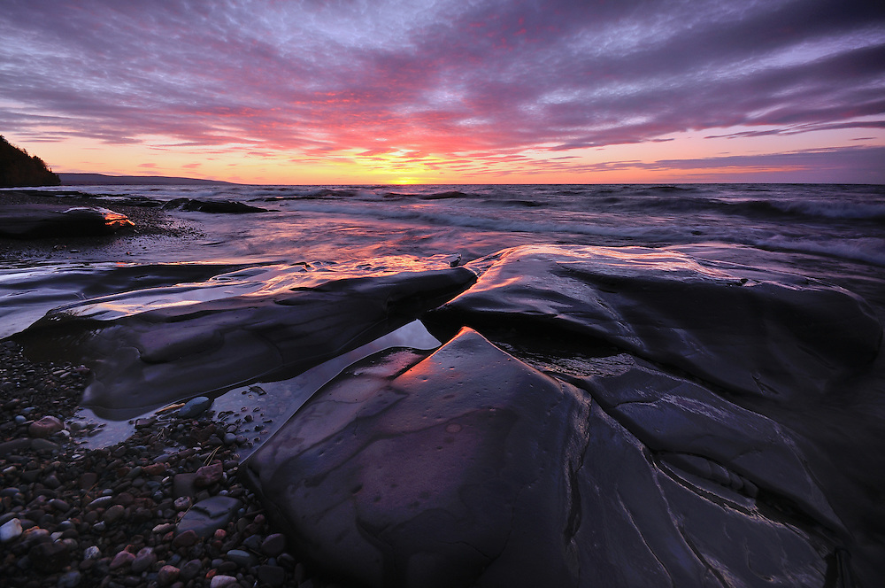 A stunning Lake Superior Sunset in the Porcupine Mountains Wilderness,<br /> Michigan's Upper Peninsula