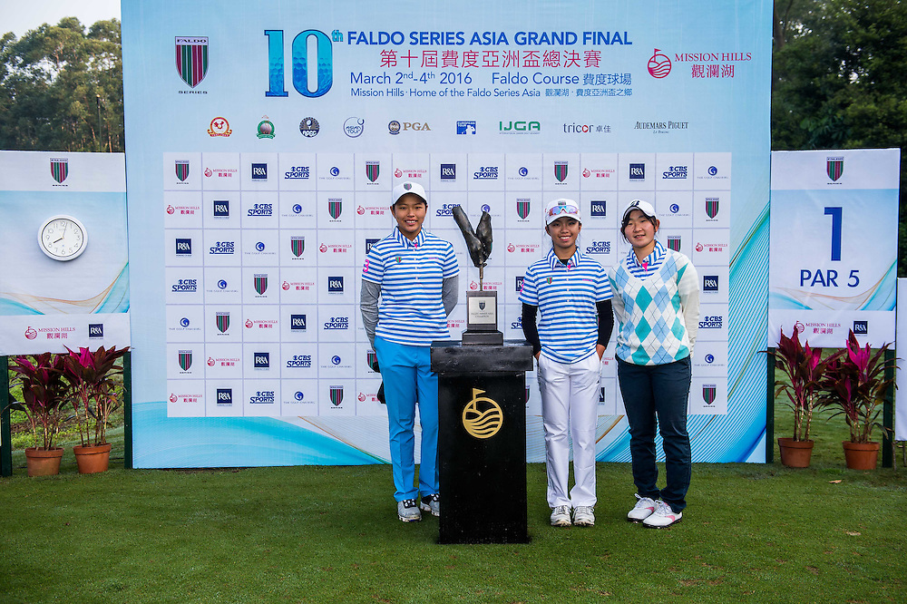 Winnie Ng Yu Xuan of Malaysia, Yumi Kudo of Japan and Erika Layson of Singapore pose for a picture during day one of the 10th Faldo Series Asia Grand Final at Faldo course in Shenzhen, China. Photo by Xaume Olleros.