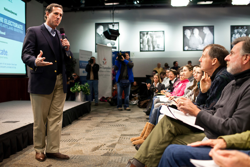 """Republican presidential candidate Rick Santorum participates in """"The Electorate and the Economy"""" forum at St. Anselm College on Saturday, January 7, 2012 in Manchester, NH. Brendan Hoffman for the New York Times"""