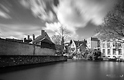 Long exposure shot of a canal in Bruges, converted to black & white