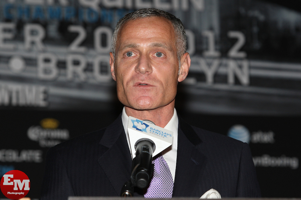 Aug 30, 2012; Brooklyn, NY, USA; Barclays Center CEO Brett Yormark speaks at the press conference at New York Marriott at the Brooklyn Bridge. The press conference announced the upcoming October 20th card at the Barclays Center.