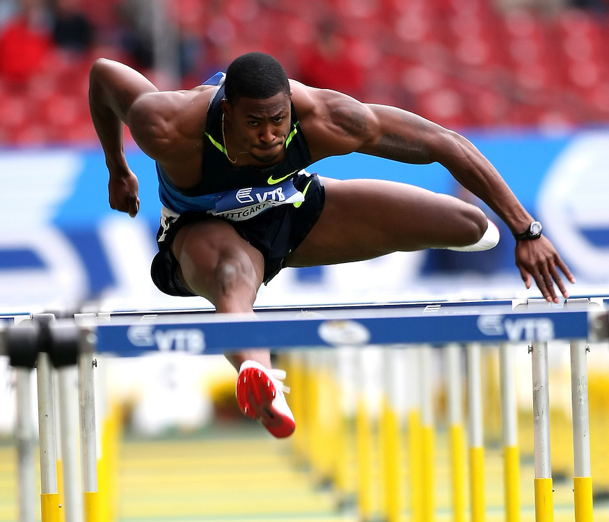 (Stuttgart, Germany---14 September 2008) David Oliver of the USA running to a victory of 13.22 seconds in the 110m hurdles at the 2008 World Athletics Final. Stewart's time was 22.72 seconds. [Copyright Sean W. Burges/Mundo Sport Images, 2008.]