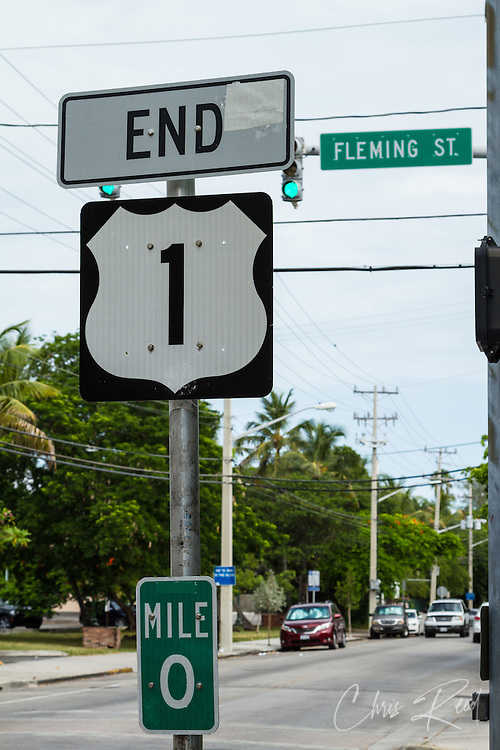 USA, Florida, Key West. Mile marker zero at the end of U.S. Route 1.