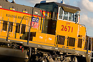 A brand new hybrid 'genset' railroad freight locomotive awaits duty on the south side of Chicago, IL.