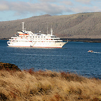 The MV Galapagos Explorer II offshore at Santiago Island in the Galapagos. Ecuador, South America