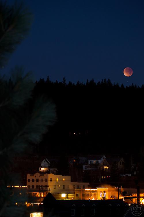 """Lunar Eclipse over Downtown Truckee, CA. 2"" - Photograph of the December 10th, 2011 lunar eclipse over Downtown Truckee, California."