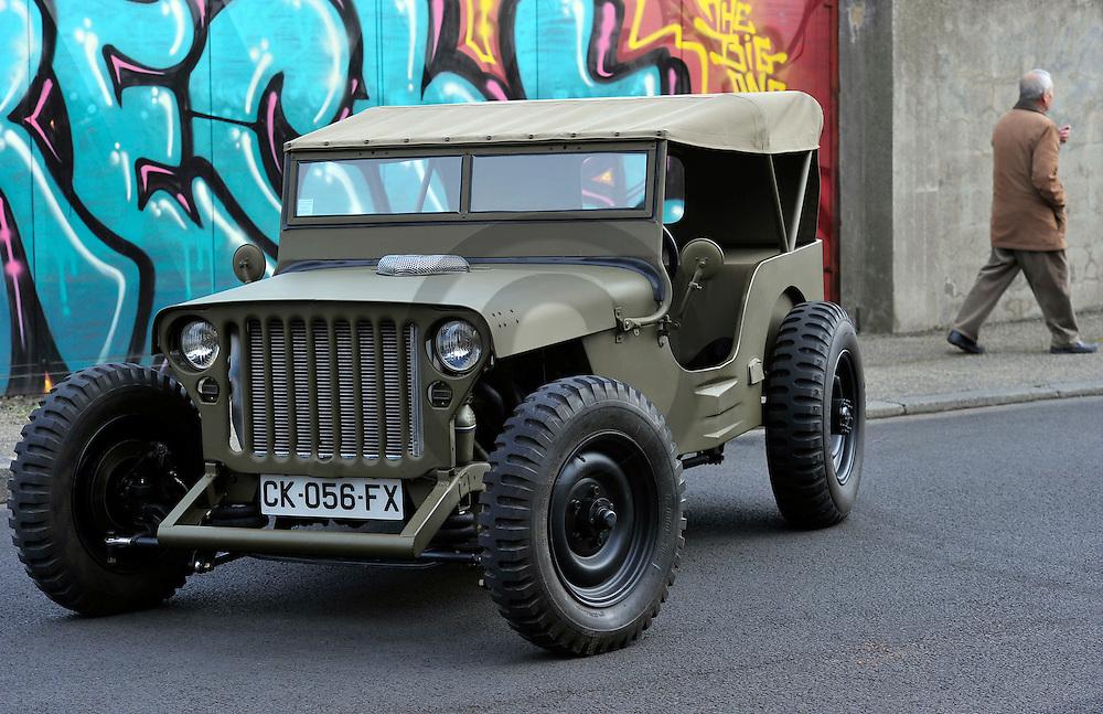 30/12/13 - CLERMONT FERRAND - PUY DE DOME - FRANCE - Hot Rod sur base de Jeep Willys, Motorisation AMC V8 de 5.0L de cylindree - Photo Jerome CHABANNE