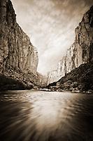 Sunset on Santa Elena Canyon and the Rio Grande River. Big Bend National Park, Texas.