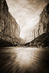 Sunset on Santa Elena Canyon and the Rio Grande River. Big Bend National Park, Texas.