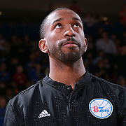 Delaware 87ers Guard RUSS SMITH (5) seen during the singing of the National Anthem prior a NBA D-league regular season basketball game between the Delaware 87ers and the Maine Red Claws Friday, Feb. 19, 2016 at The Bob Carpenter Sports Convocation Center in Newark, DEL.