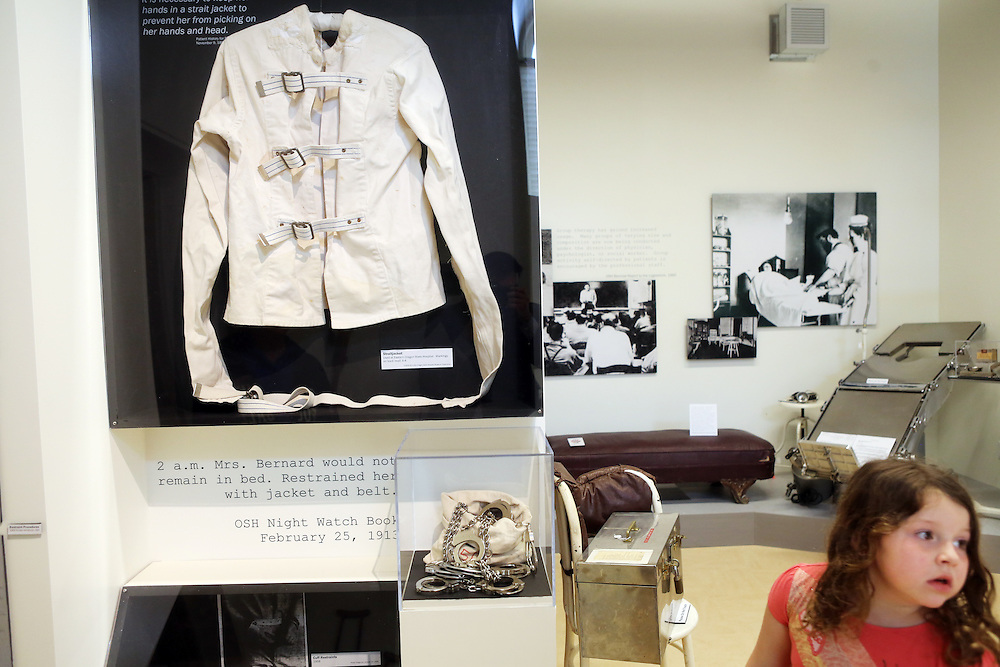 """A straitjacket and other restraints. The Oregon State Hospital in Salem has been home to psychiatric patients for more than a century. The movie """"One Flew Over the Cuckoo's Nest"""" was filmed there, and the new Oregon State Hospital Museum of Mental Health honors the experiences of the patients who have lived there over the decades."""