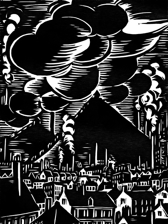 A black / white drawing of an industrial town