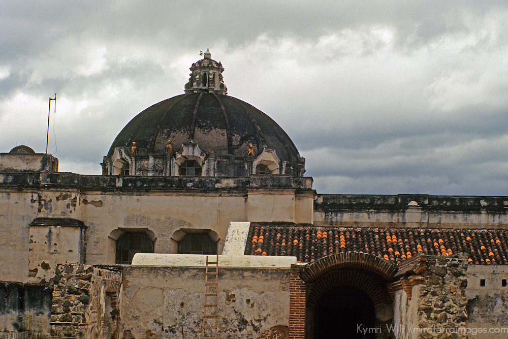 Central America, Guatemala, Antigua. Aged structures and skyline of Antigua.