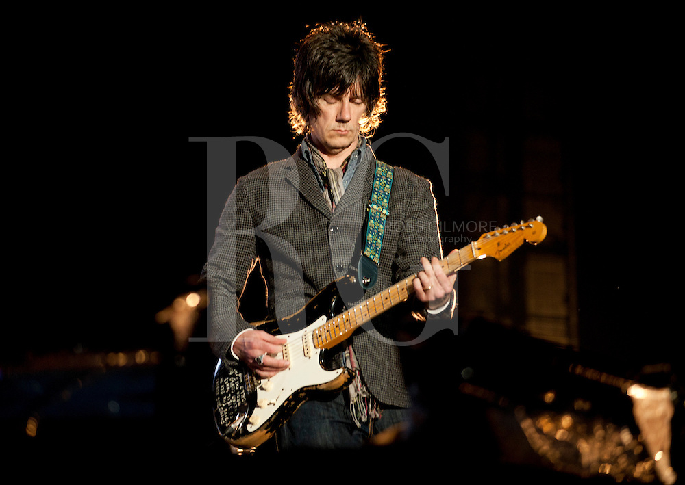 KINROSS, UNITED KINGDOM - JULY 07: John Squire of The Stone Roses performs on stage during T In The Park Festival at Balado on July 7, 2012 in Kinross, United Kingdom. (Photo by Ross Gilmore