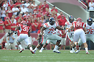 Ole Miss offensive lineman Bobby Massie (79) vs. Arkansas at Reynolds Razorback Stadium in Fayetteville, Ark. on Saturday, October 23, 2010.