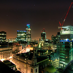 View towards Tower 42 and The Gherkin in the City of London