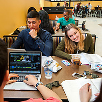 Students enjoy lunch in one of Brandeis University's cafeterias in Waltham, MA.
