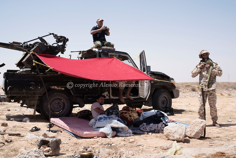 Libya: Libya's Government of National Accord's (GNA) fighters on the frontline with ISIS in Sirte. Alessio Romenzi