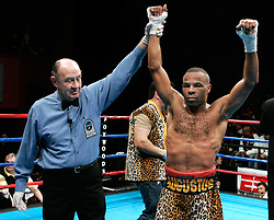 February 10, 2006 - Mashantucket, CT - Emanuel Augustus celebrates after his 10th round TKO win over Jaime Rangel.  Augustus rallied to win via 10th round TKO.