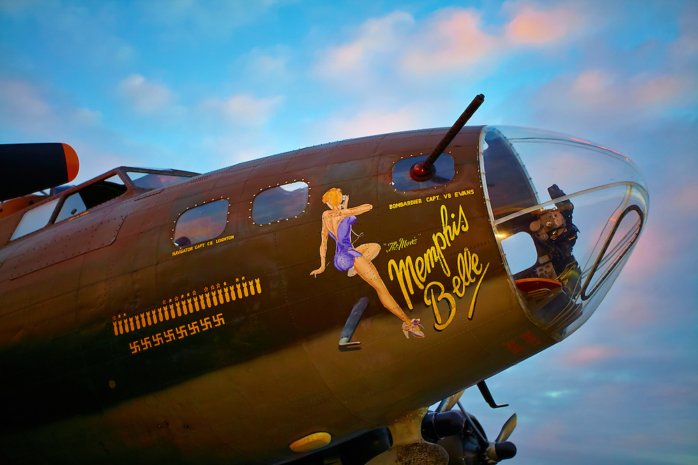 "Nose art of the ""movie"" B-17 Memphis Belle, photographed at Dekalb Peachtree Airport (PDK), Atlanta."