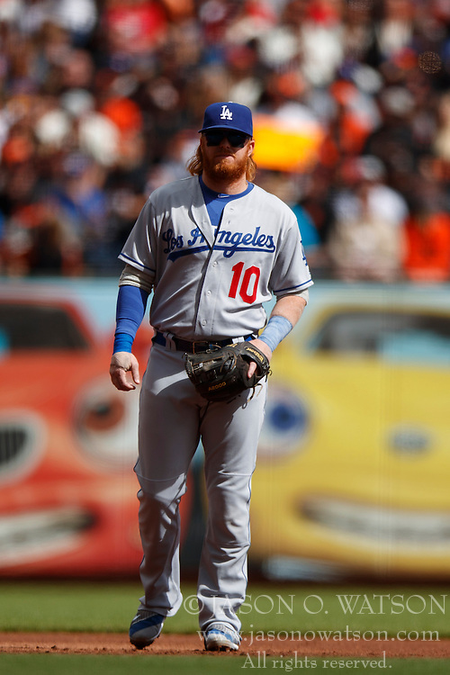 SAN FRANCISCO, CA - OCTOBER 02: Justin Turner #10 of the Los Angeles Dodgers stands on the field against the San Francisco Giants during the first inning at AT&T Park on October 2, 2016 in San Francisco, California. The San Francisco Giants defeated the Los Angeles Dodgers 7-1. (Photo by Jason O. Watson/Getty Images) *** Local Caption *** Justin Turner