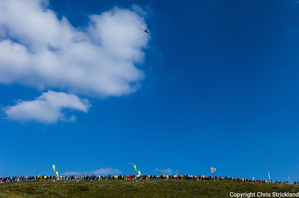 Hartside Fell, Penrith, Cumbria, UK. 10th September 2015. Stage 5 of the Tour of Britain climaxes with a summit finish on Hartside Fell in Cumbria.