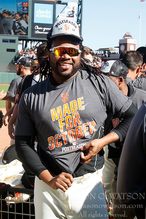 SAN FRANCISCO, CA - OCTOBER 02: Johnny Cueto #47 of the San Francisco Giants celebrates after the game against the Los Angeles Dodgers at AT&T Park on October 2, 2016 in San Francisco, California. The San Francisco Giants defeated the Los Angeles Dodgers 7-1. (Photo by Jason O. Watson/Getty Images) *** Local Caption *** Johnny Cueto