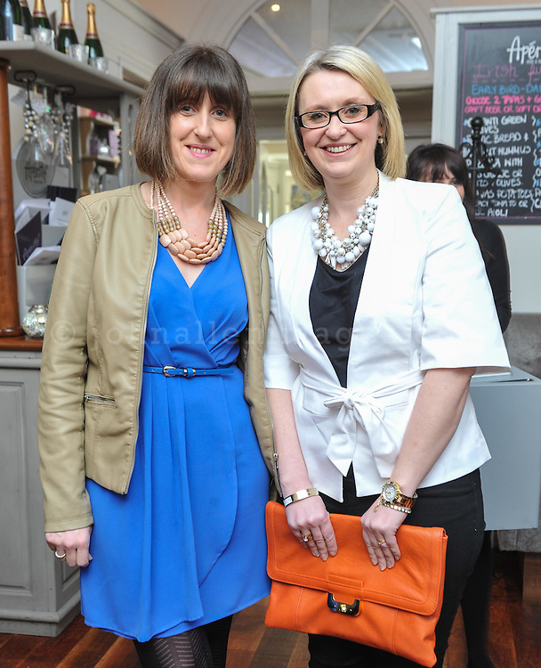 REPRO FREE<br /> Clare Harrington and Maria McNamara from bandon pictured at the Irish Fashion Design Showcase organised by frock advisor and Wear We Wander at the Blue Haven Hotel in Kinsale.<br /> Picture. John Allen<br /> <br /> For immediate release - Contact &amp; Enquiries for further details Bronwyn Connolly 0894389844<br /> <br /> Frockadvisor, Ireland's only Fashion app supporting independent boutiques and designers teamed up with online Ethical Fashion Boutique, Wear we Wander, to showcase and celebrate the very best in Irish Fashion Design in the stunning setting of Aperitif at The Blue Haven, Kinsale. Guests previewed SS16 Collections from well known Irish Designers including Alice Halliday, Charlotte &amp; Jane, Wear we Wander, Celtic Fusion, Mamukko,&amp;  Helle Helsner. While indulging Handmade Irish Chocolate, Wine and Tapas, all while listening to the haunting sounds of the Harp. Guests were truly immersed in the very fantastic display of Irish Design &amp; Fashion. <br /> <br /> frockadvisor is the brain child of Fashion Gurus Brendan Courtney and Sonya Lennon, who between them have many industry years under their beautifully crafted belts. Their careers have included TV broadcasting, styling, journalism and designing.<br /> Using all that knowledge, they developed frockadvisor, through a deep understanding of the industry and a clear sense of what the customer wants. Independent retailers, designers and their customers love each other and are driven by a common search for something different. Fashion is magic and the experience of being advised and assisted by people who you respect and trust is much more beautiful than simply pressing &lsquo;buy it now&rsquo;. frockadvisor is pioneering a new kind of customer experience and providing boutique and designers an opportunity to connect with fashion lovers on a whole new level. <br /> <br /> frockadvisor is delighted be involved with anything that promotes beautiful things produced and sold by beautiful people. Bronwyn is an inspiration, bringing together the bright stars of Irish Design i