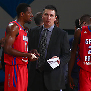 Grand Rapids Drive Guard JORDAN CRAWFORD (15) listens to Head Coach REX WALTERS in the second half of a NBA D-league regular season basketball game between the Delaware 87ers and the Grand Rapids Drive (Detroit Pistons) Tuesday. Nov. 29, 2016 at The Bob Carpenter Sports Convocation Center in Newark, DEL.