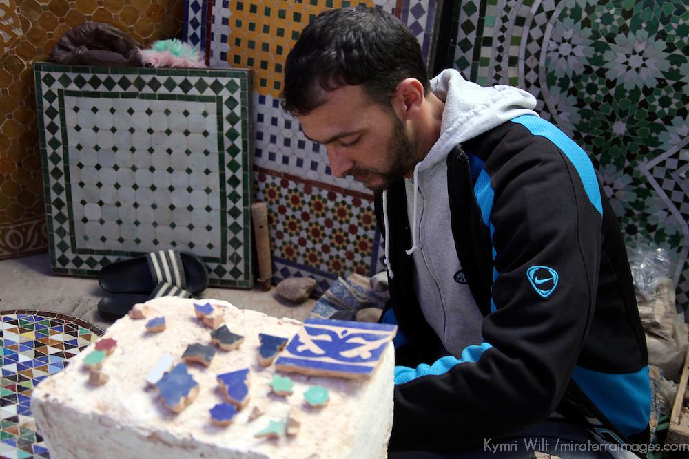 Africa, Morocco, Fes. Moroccn mosaic artisan.