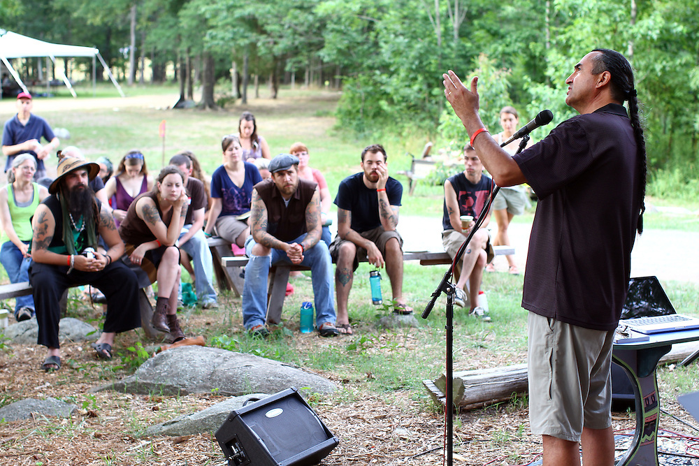 Native American educator and author Richard Twiss, far right, speaks to a group at the Wild Goose Festival at Shakori Hills in North Carolina June 23, 2011.  (Photo by Courtney Perry)