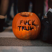 Trump rally protesters sign carved into a pumpkin at the University of Wisconsin, Eau Claire campus, candidate Donald Trump spoke at the campus on November 1st, 2016
