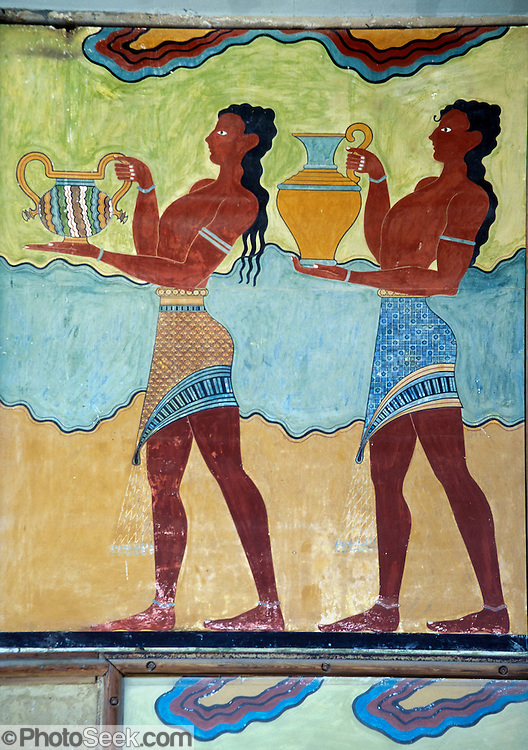 A modern copy of a Minoan Period fresco of women carrying urns (dating from 1500 BC) is reproduced at Knossos palace, at Heraklion (Iraklion), Crete, Greece, Europe. Knossos is a Minoan archeological site associated with the Labyrinth and Minotaur of Greek mythology. The Bronze Age palace of Knossos was first built around 1900 BC, destroyed by a large earthquake or foreign invaders in 1700 BC, rebuilt more grandly, then damaged several more times by earthquakes, by invasions, and in 1450 BC by the colossal volcanic eruption of Thera (modern Thira or Santorini). Invading Mycenaeans used Knossos as their capital as they ruled the island of Crete until 1375 BC. Archaeologist Arthur Evans excavated the Palace at Knossos from 1900-1905 and named the Minoan civilization of Crete after king Minos from Greek mythology. Homer's epic poems of the Iliad and Odyssey are the first Greek literature to mention Minos as a king of Knossos, Crete. Minos was son of Zeus and Europa. Every nine years Minos made King Aegeus pick seven men and seven women to go to the Labyrinth to be eaten by the Minotaur, a creature half man and half bull. After his death, legendary Minos became a judge of the dead in Hades. The vast building complex at Knossos is popularly thought to be the site of the Labyrinth, which Greek mythology says was designed by architect Daedalus with such complexity that no one could ever find its exit.