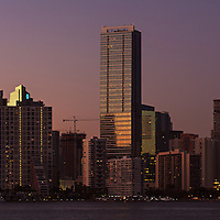 Panoramic view of the downtown Miami, Florida bayfront skyline shortly after sunset.