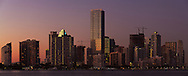 Panoramic view of the downtown Miami, Florida bayfront skyline shortly after sunset.<br /> WATERMARKS WILL NOT APPEAR ON PRINTS OR LICENSED IMAGES.