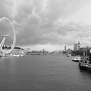 London Eye and Thames - London, UK - Black & White
