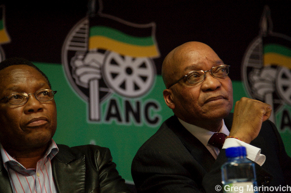 ANC president Jacob Zuma and Kgalema Mothlanthe - soon to be named as Mbeki's successor - listen to a question  at an African National Congress held a press conference at their Luthuli House headquarters to react to Thabo Mbeki's resignation as South African president after he was recalled by the national executive committe. photo  Greg Marinovich