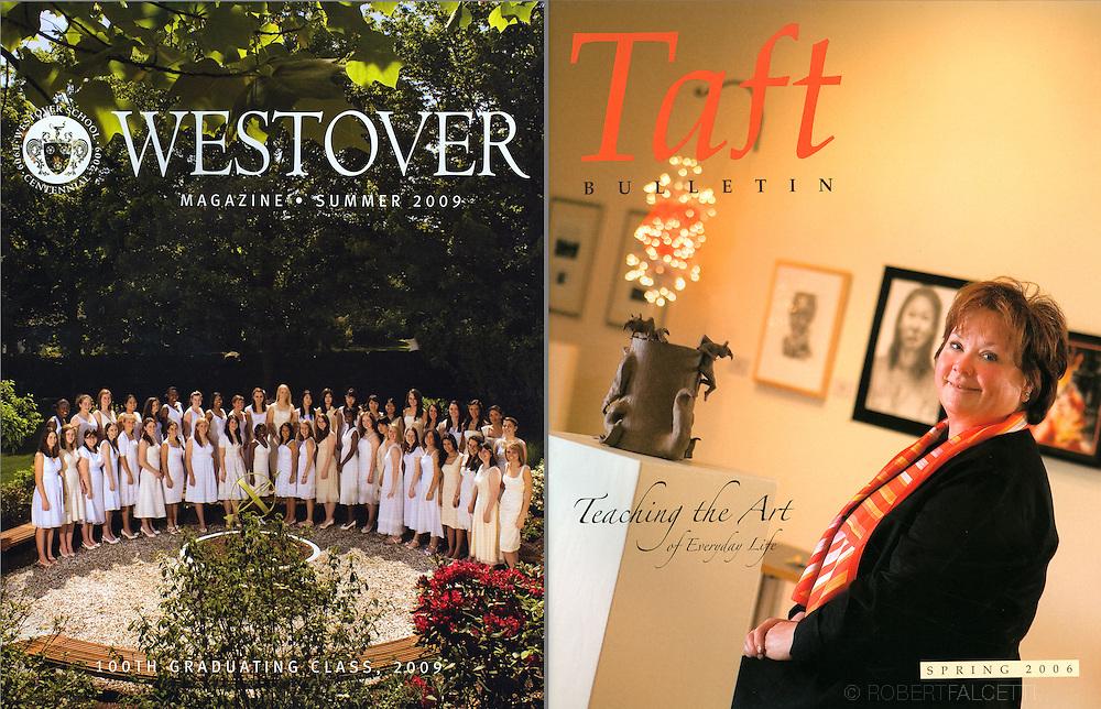 Alumni magazines.The Westover School ,left, and The Taft School.(Photo by Robert Falcetti)