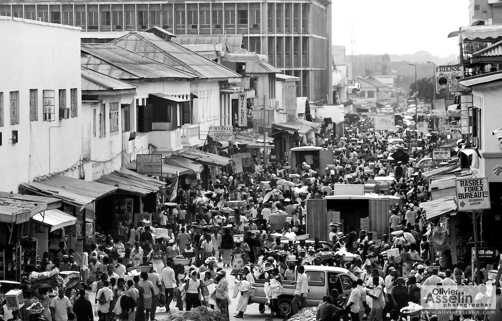 Busy area in the commercial area of Makola market in Accra, Ghana, on Thursday Mar 1, 2007.