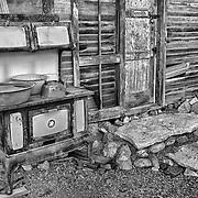 Rusting Stove Shack Exterior - Eldorado Canyon - Nelson NV - HDR -  Black & White