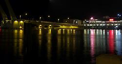 John's Pass draw bridge at night.