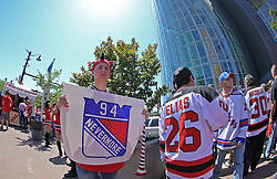 May 19, 2012; Newark, NJ, USA; A New Jersey Devils fan holds up a sign before game three of the 2012 Eastern Conference Finals at the Prudential Center.