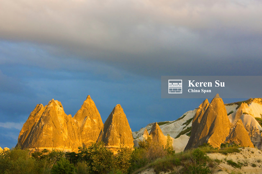 Rock formation in Goreme at sunset, Cappadocia, Turkey