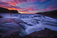 Dramatic sunrise over Gulfoss, Iceland