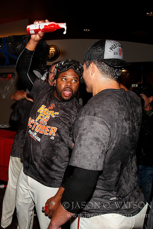 SAN FRANCISCO, CA - OCTOBER 02: Johnny Cueto #47 of the San Francisco Giants celebrates with teammates in the clubhouse after the game against the Los Angeles Dodgers at AT&T Park on October 2, 2016 in San Francisco, California. The San Francisco Giants defeated the Los Angeles Dodgers 7-1. (Photo by Jason O. Watson/Getty Images) *** Local Caption *** Johnny Cueto