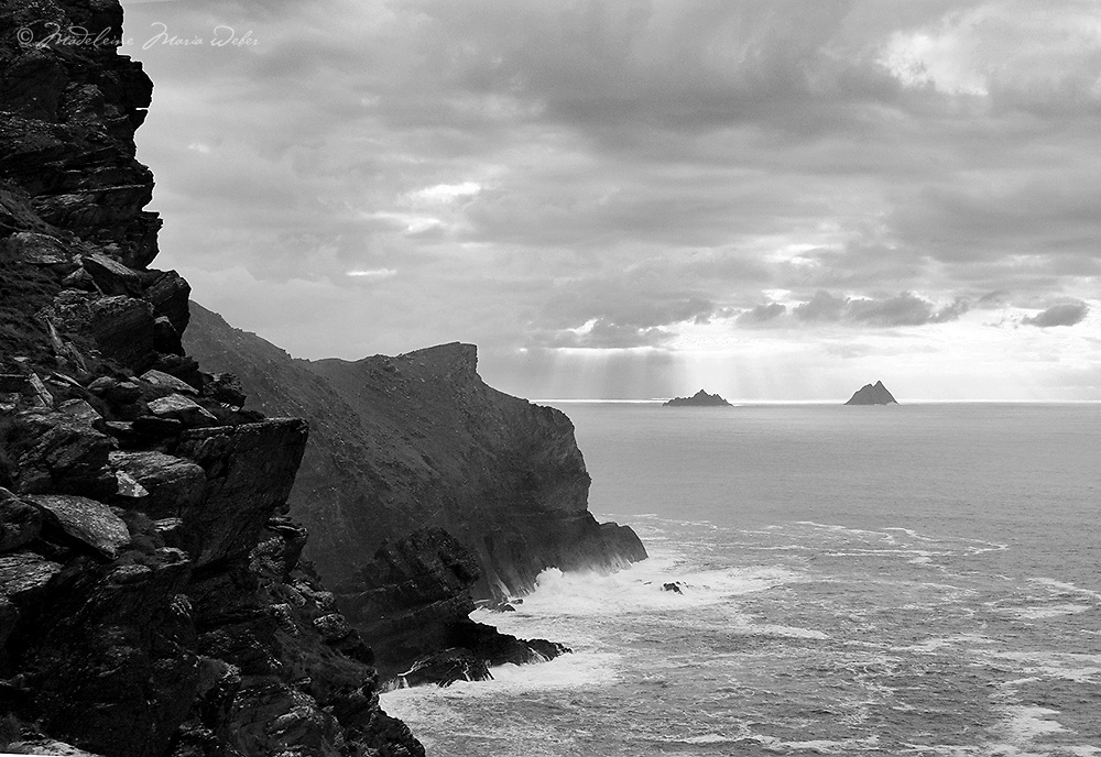 View from the Valentia Island Cliffs towards the Skelligs, County Kerry, Ireland ****** <br />