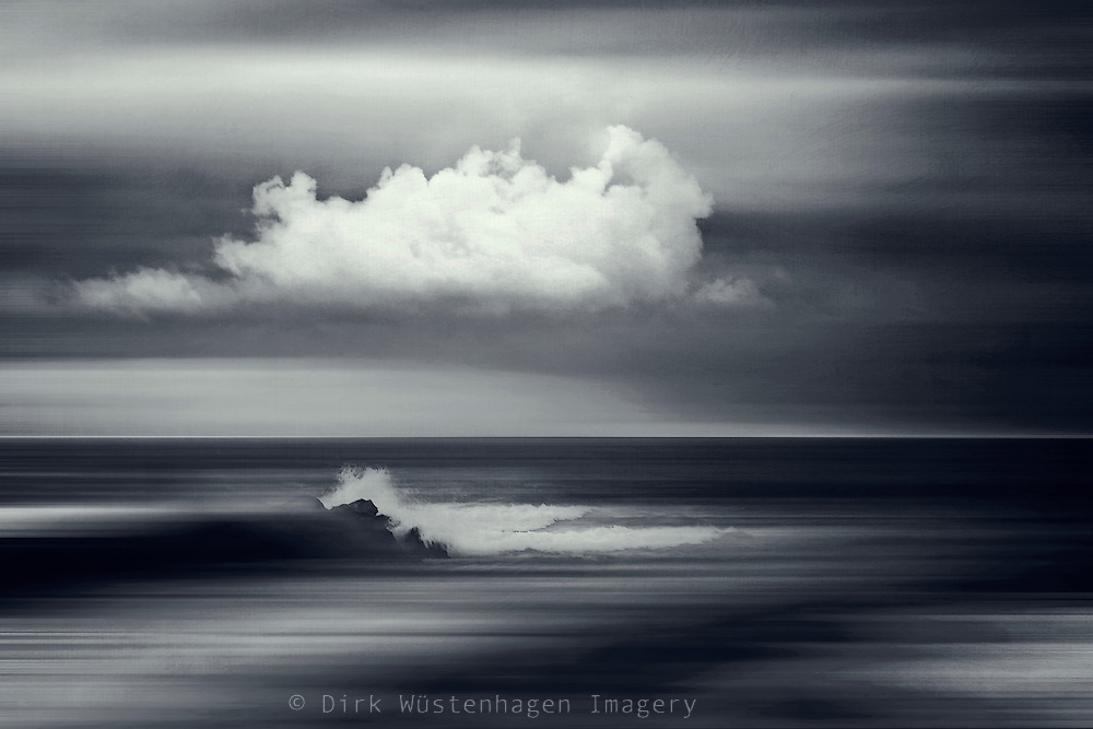 Abstract seascape with cloud and breaking waves - photomanipulation<br /> Prints: https://www.curioos.com/product/print/water-echoes-ii-2
