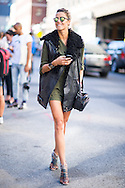 Leather Vest and Military Green Dress, Outside Rag & Bone