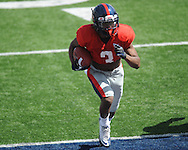 Jeff Scott (3) scores at Ole Miss football scrimmage at Vaught-Hemingway Stadium in Oxford, Miss. on Saturday, April 6, 2013.